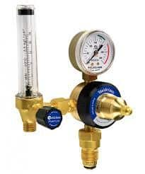 Separate flow meter attached to regulator