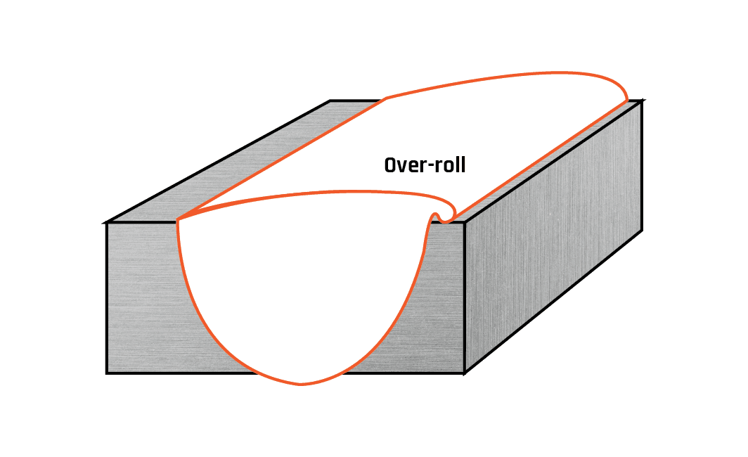 Over-roll on a butt weld